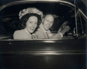 Barb and Roy Davis leaving the church after their wedding (7/15/1947).  I hope he avoided the use of 'knucklehead' that day.