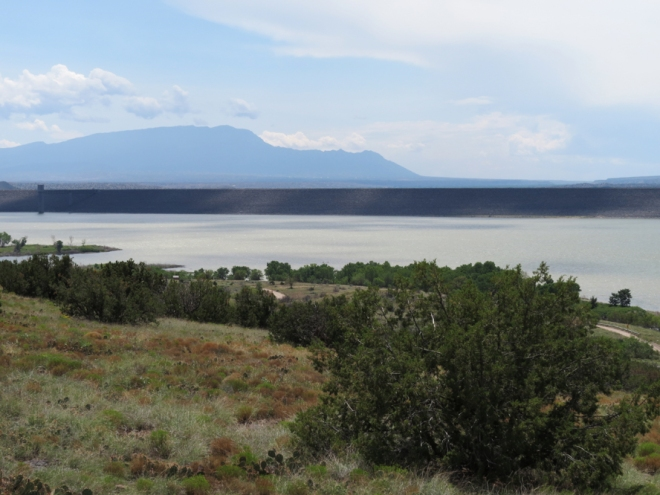 Cochiti Lake with the Sandia Mountains in the distance - Albuquerque is at the foot of the mountains.