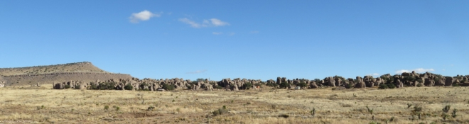 City of Rocks from one of the perimeter trails. My RV is just to the right of center.